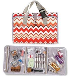 Chevron Makeup Organizer Travel Bag Cosmetic Case
